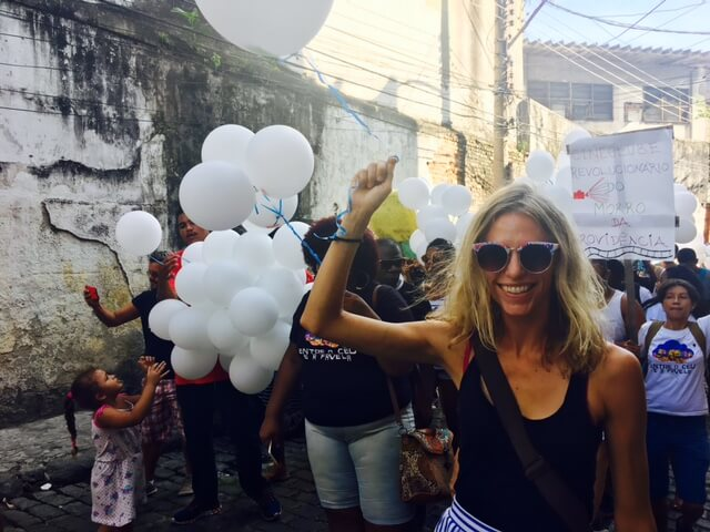Emily Farthing in a cultural tour at Providência favela, Rio de Janeiro