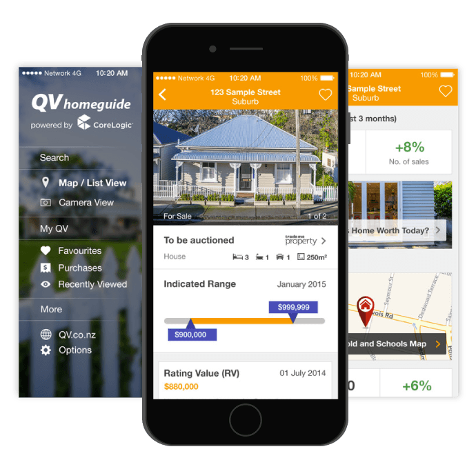 Screenshots of the QV Homeguide app