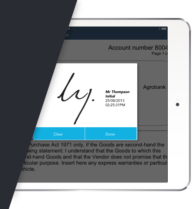 Screenshot of a signature on glass in the Seal the Deal app