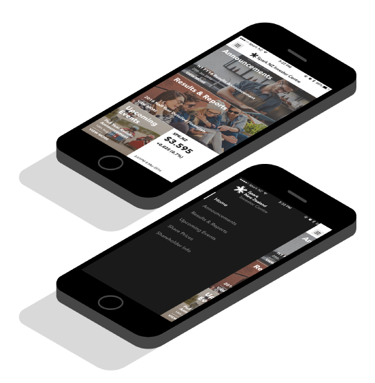 Screenshots of the Spark Investor Centre app