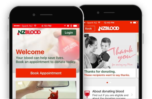Phones with screens of the NZ Blood Service app