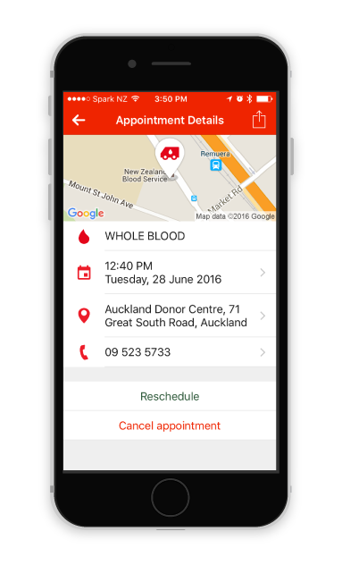 Screenshot of an appointment detail in the NZ Blood Service app