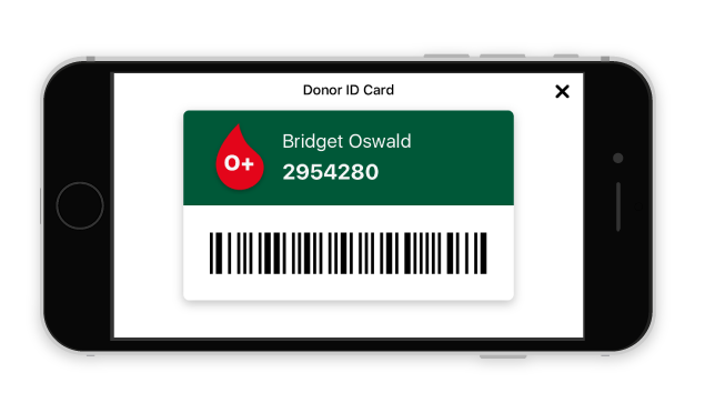 Screenshot of the virtual donor ID in the NZ Blood Service app
