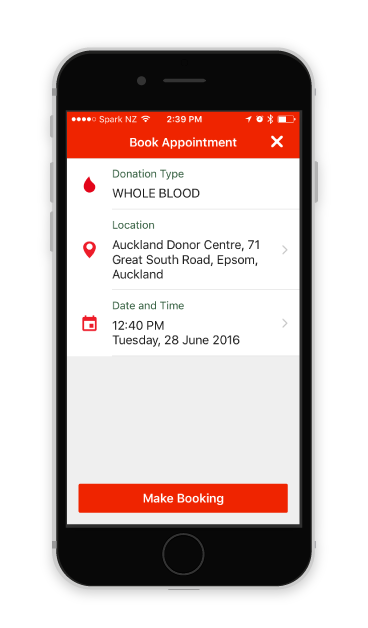 Screenshot of an appointment in the NZ Blood Service app