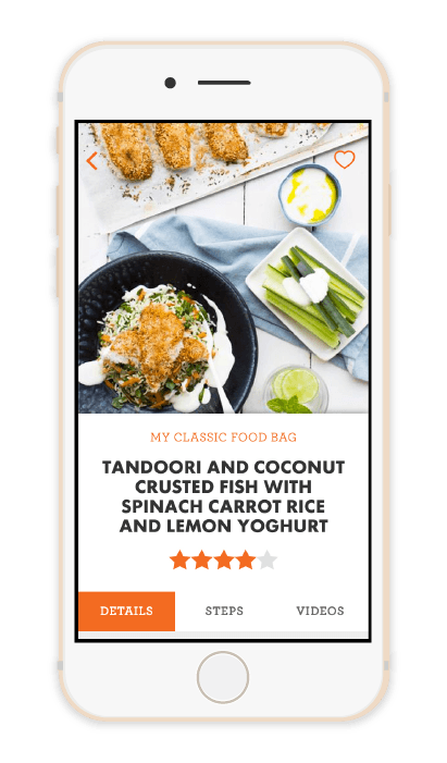 Detail screen of a recipe in the My Food Bag app
