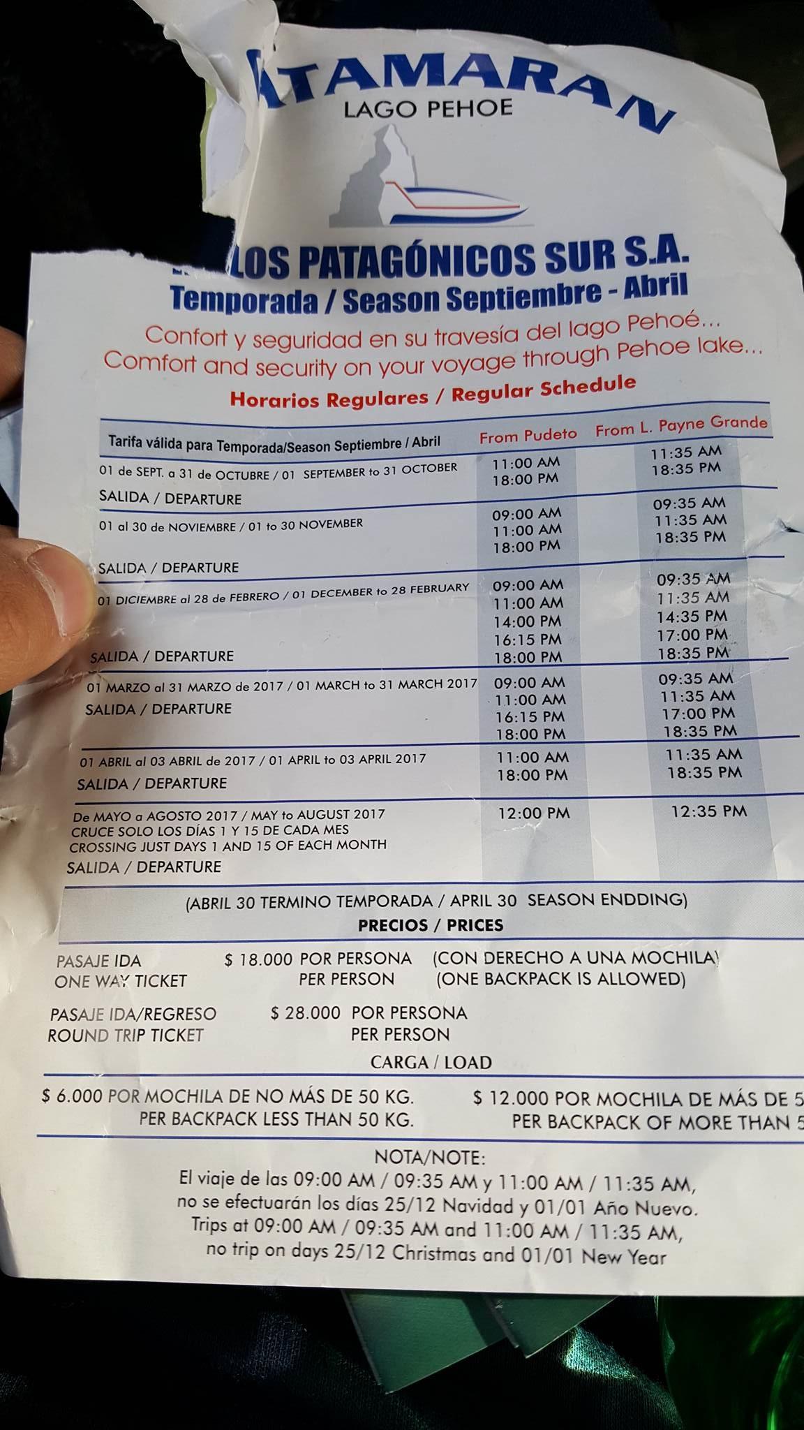 Torres del Piane Park Catamaran timetable