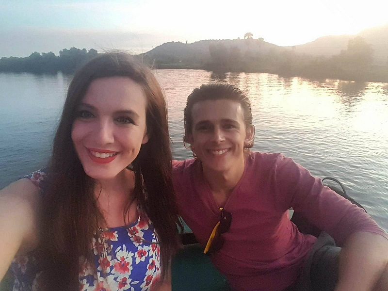 Cazzy and Brad selfie Kampot river boat cruise