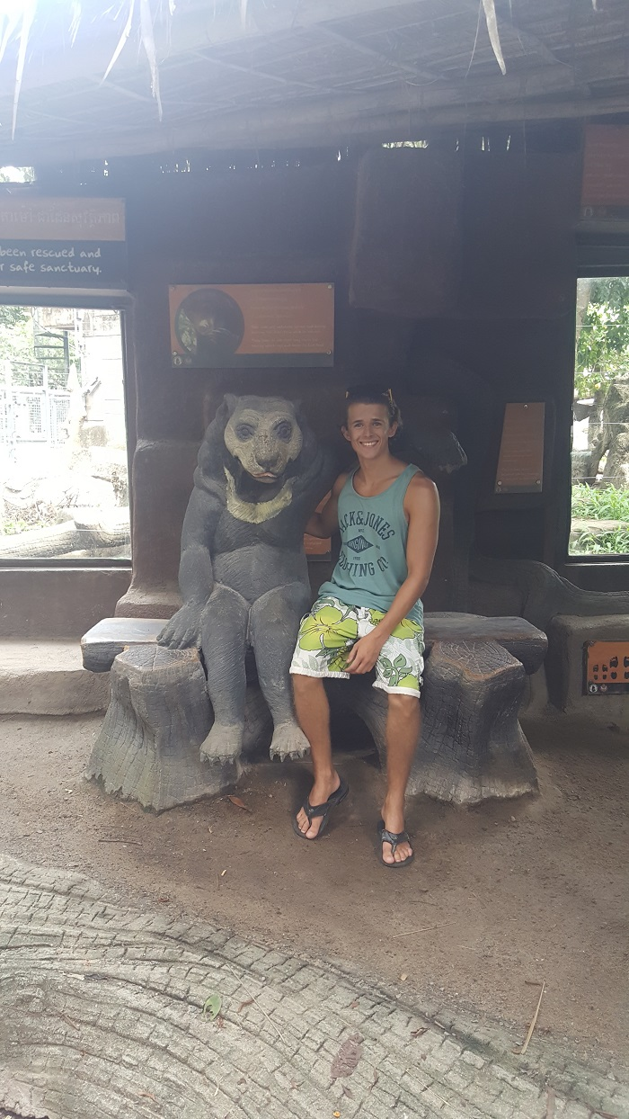 Bradley with bear at Phnom Tamao Wildlife Rescue Center (Phnom Penh)