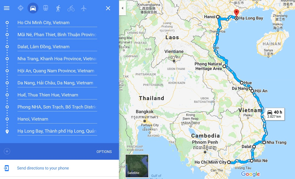 Map of 3 week Vietnam travel itinerary