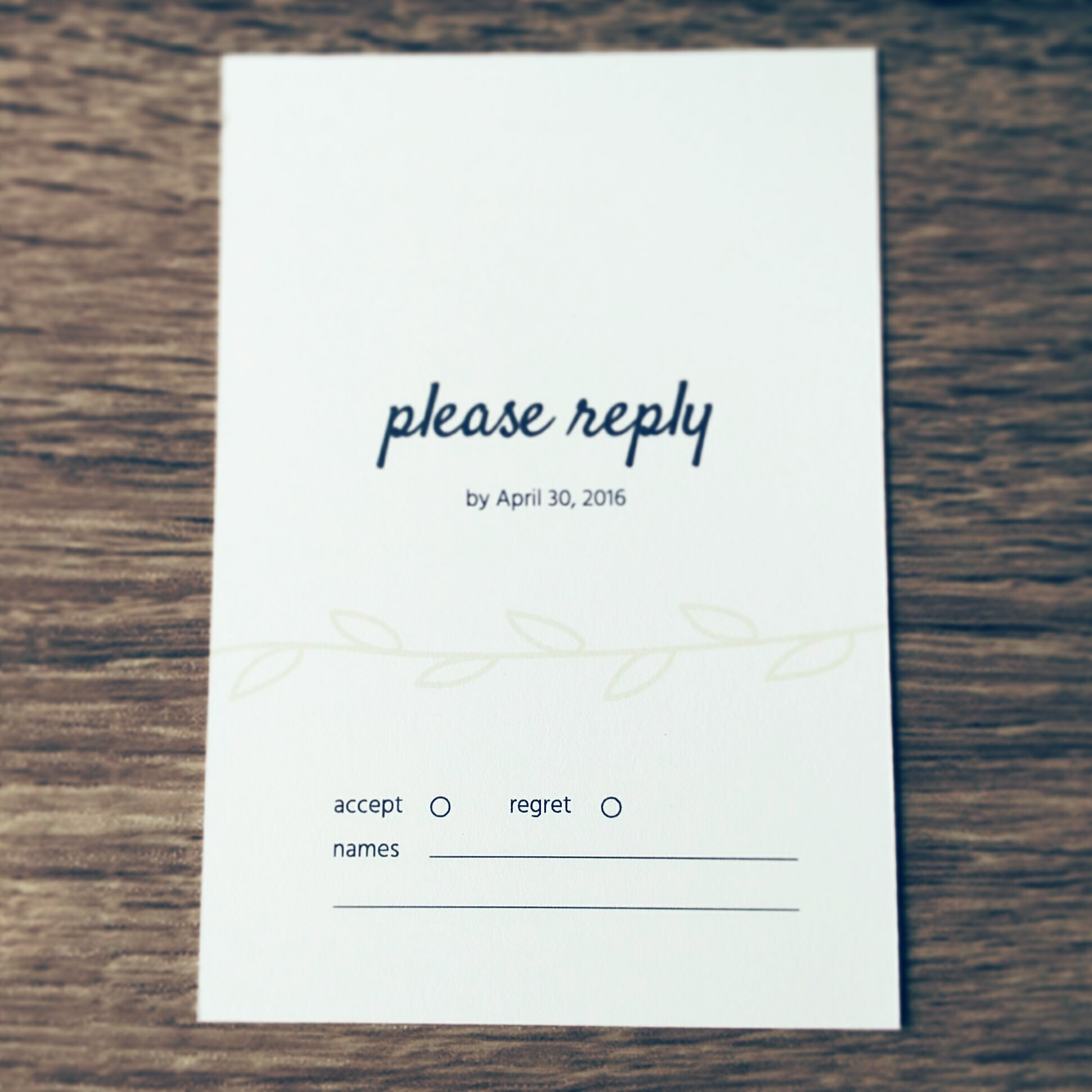 Easy to fill out RSVP card
