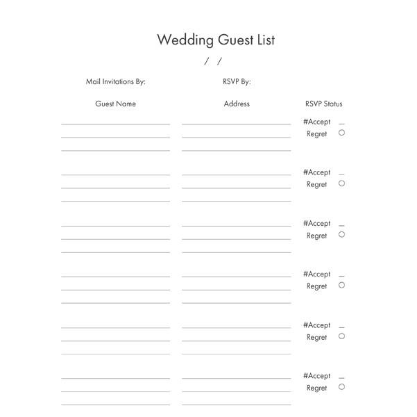 Wedding guest RSVP list - free download