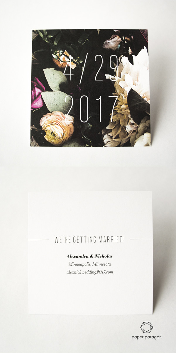 Floral save the date card for boutique weddings by Paper Paragon. St. Paul MN