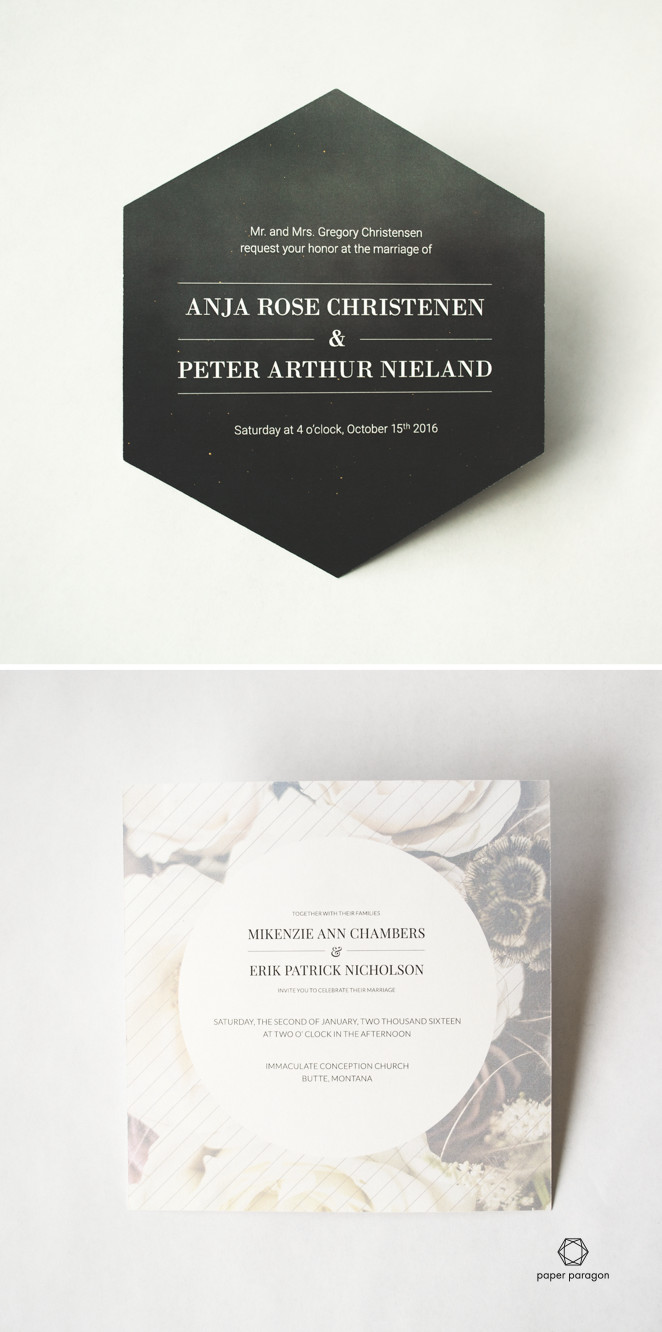 Creative invitations for boutique weddings by Paper Paragon. St. Paul MN Hexagons and squares