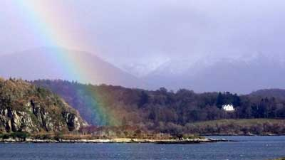 Rainbow over Appin Rocks, looking from Lismore