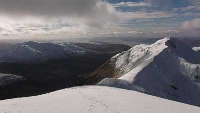 Beinn a Bheithir in Ballachulish looking down Loch Linnhe towards Lismore and Port Appin (out of view)