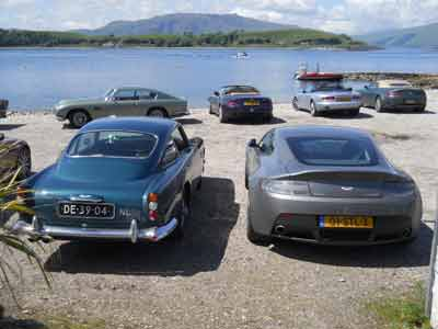 23 Aston Martins and their owners from Holland stopped by for lunch recently while on their tour of Scotland