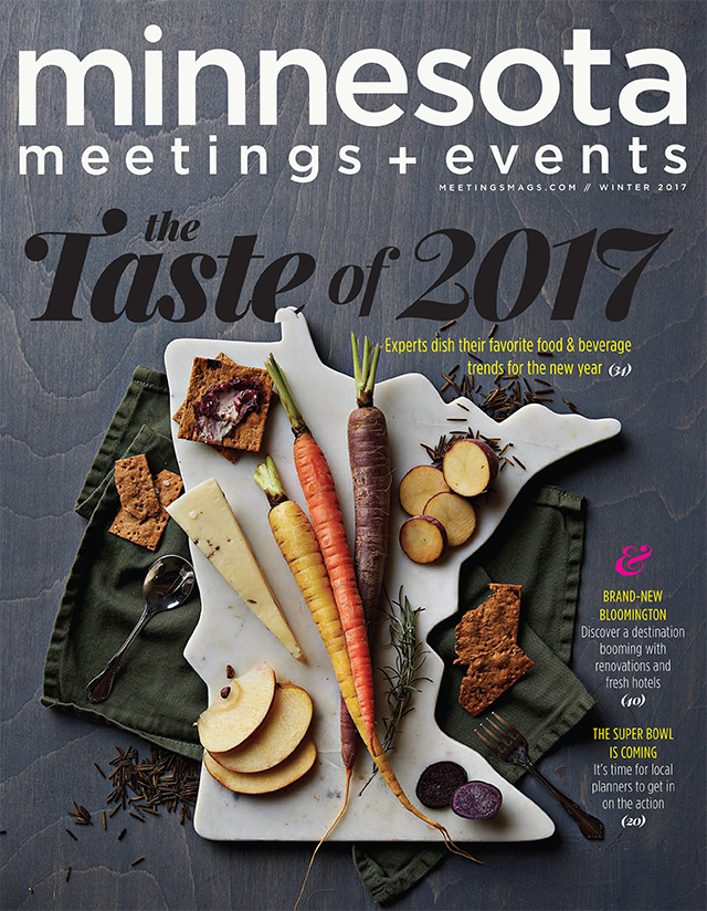Image of Minnesota meetings + events magazine cover which Big Thrill Factory amusement park is featured in