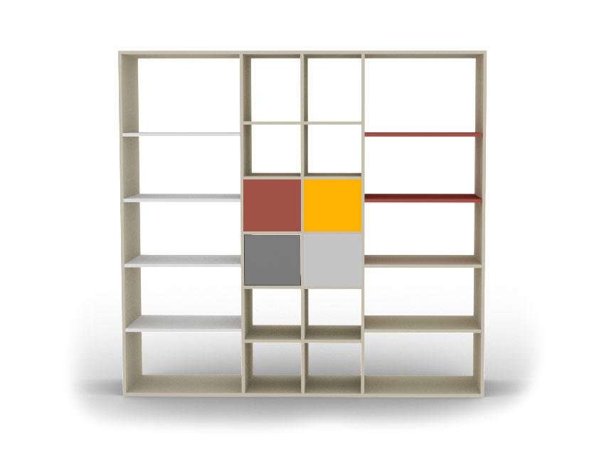 Bibliothèque sur mesure colorée