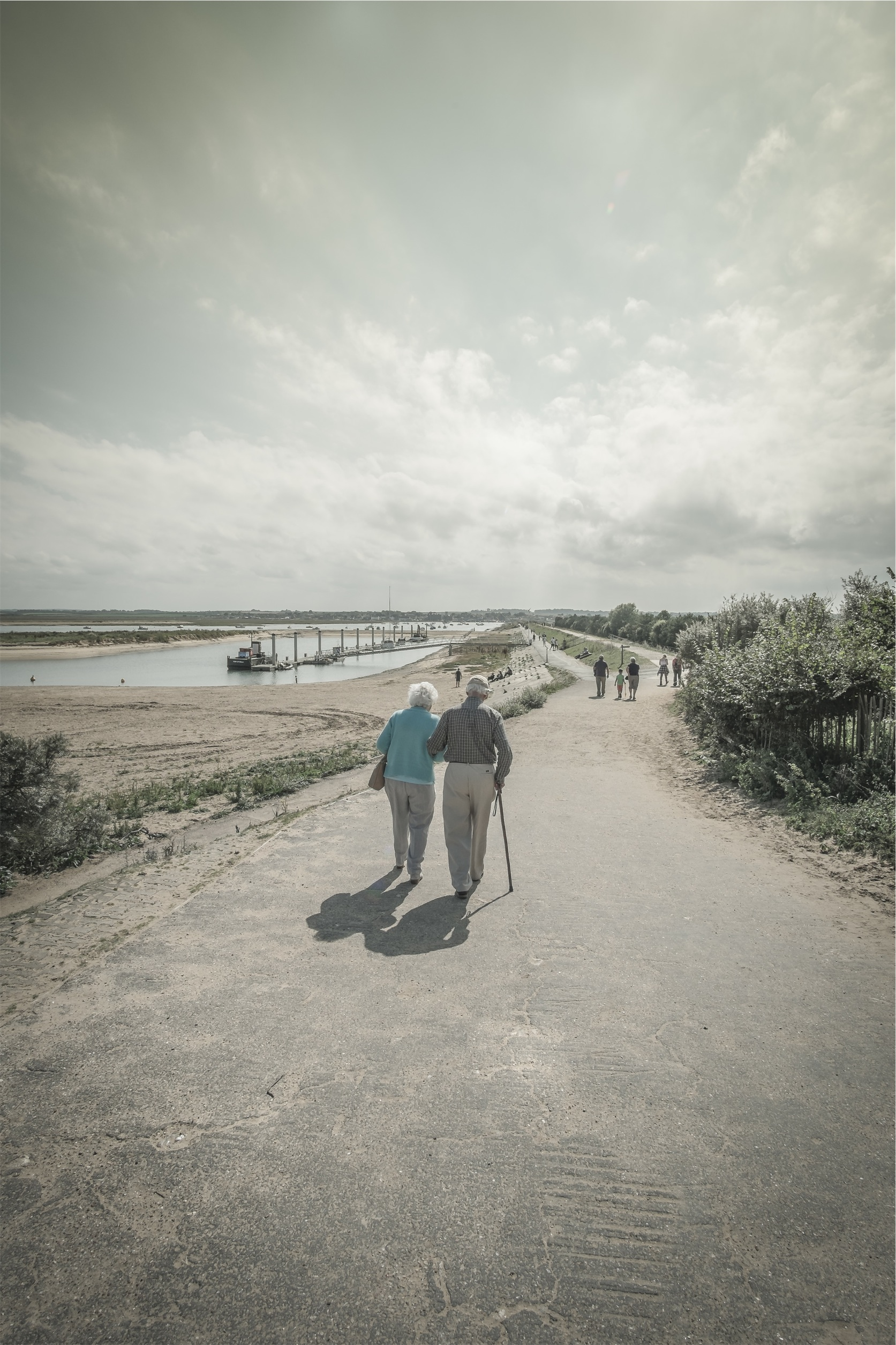 elderly parents walking