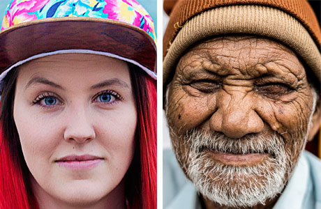 Person A - Young girl with bright red dyed hair, Person B an older man with lots of wrinkles and a tuque.