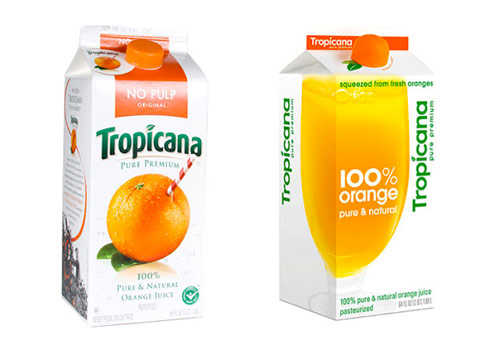Tropicana cartons compared, old vs new.
