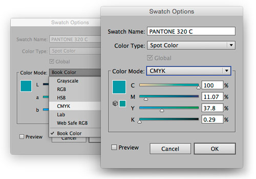 Illustrator screenshot of swatch options menus