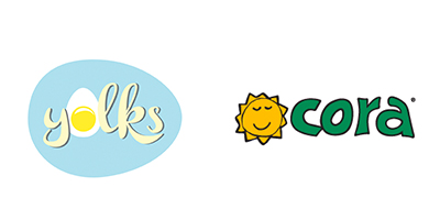 Yolks logo and Cora logo