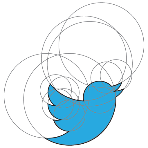 Twitter logo constructed with circles.