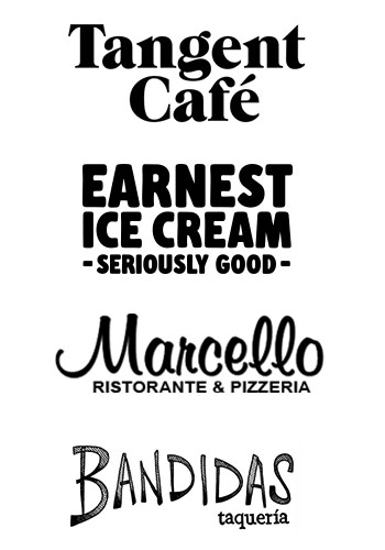 Tangent Cafe, Earnest Ice Cream, Marcello, and Bandidas logos