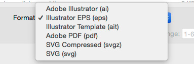 Save as file type drop down in Illustrator.
