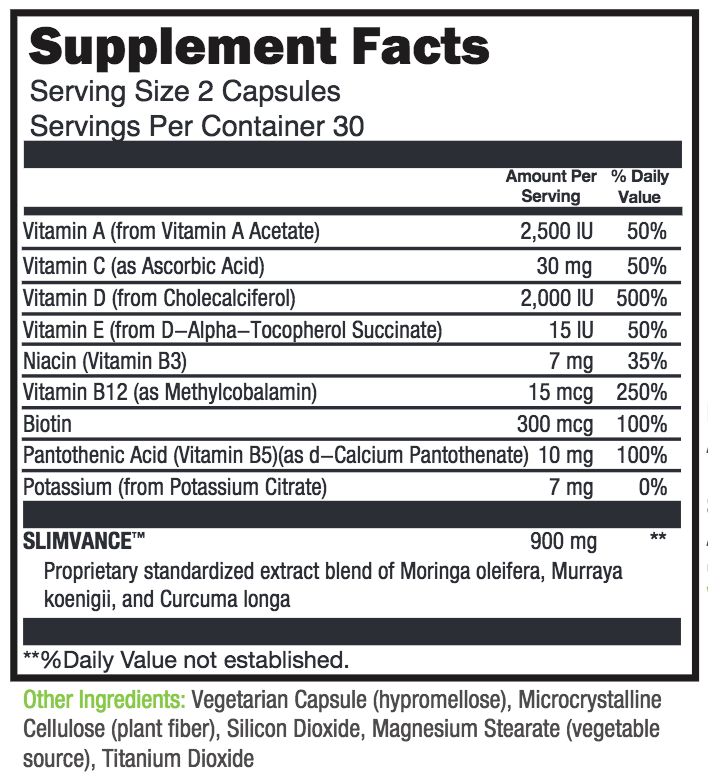 NatureThin Serving Size and Supplement Facts Label