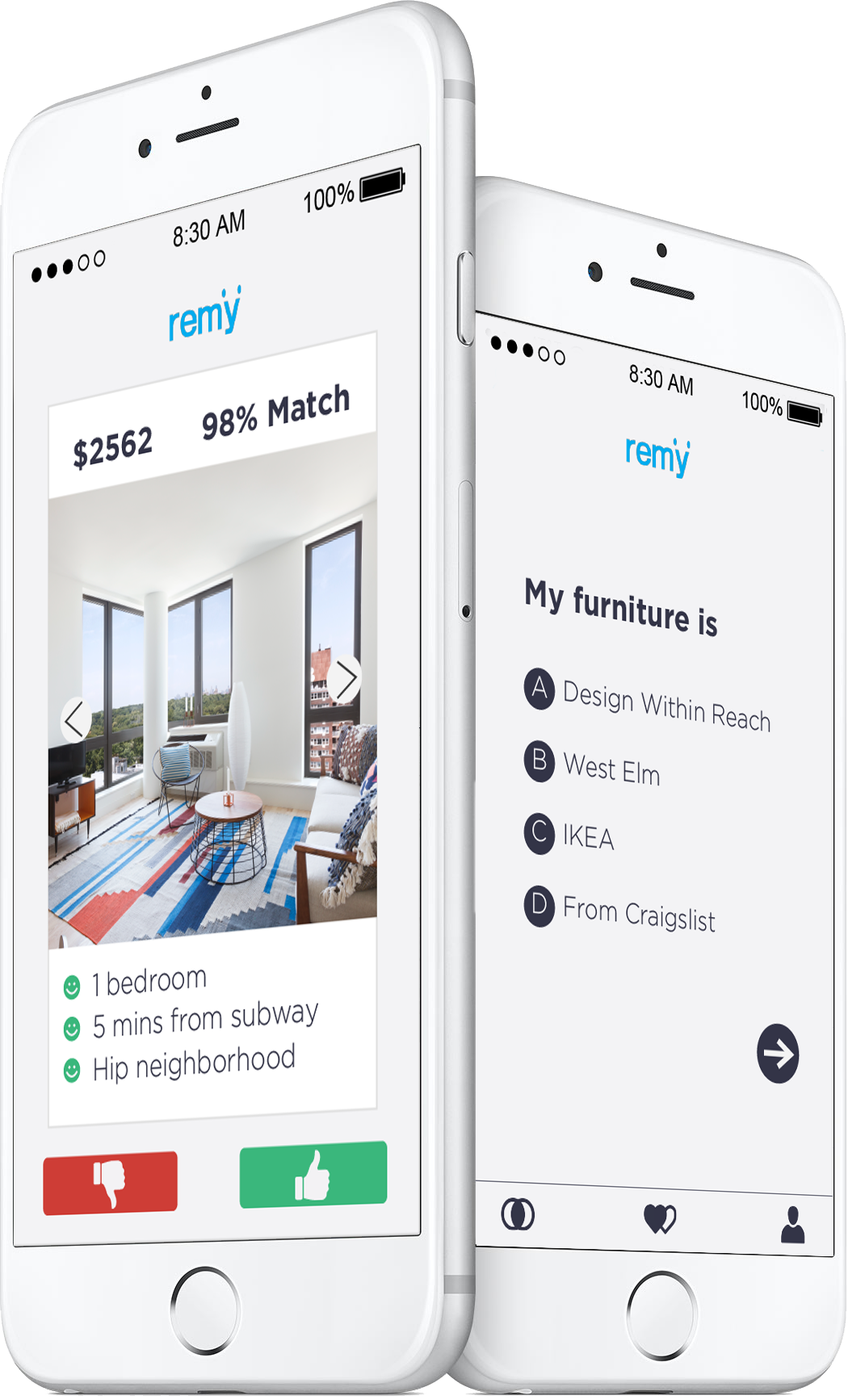 REMY apartment search interface