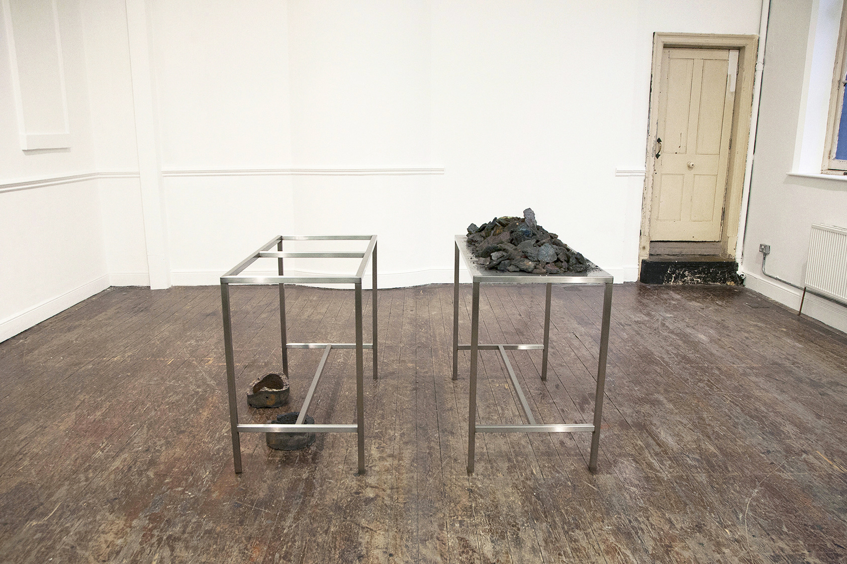 Andrea Zucchini, As Above So Below, 2014 at Zabludowicz Collection, London. Iron sulphide, stainless steel.