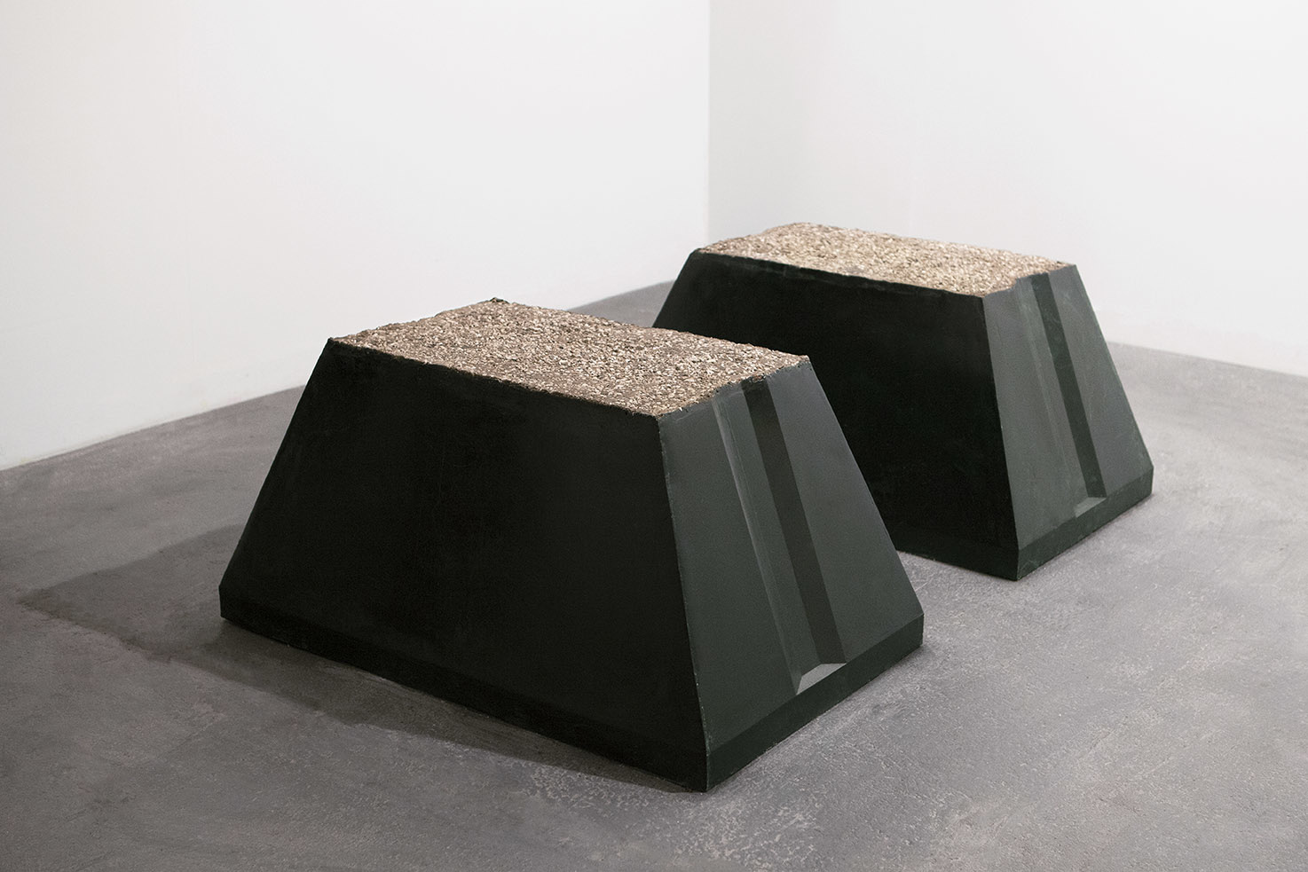 Andrea Zucchini, Double Cluster, 2012. Paraffin wax, sand, ash and stones.