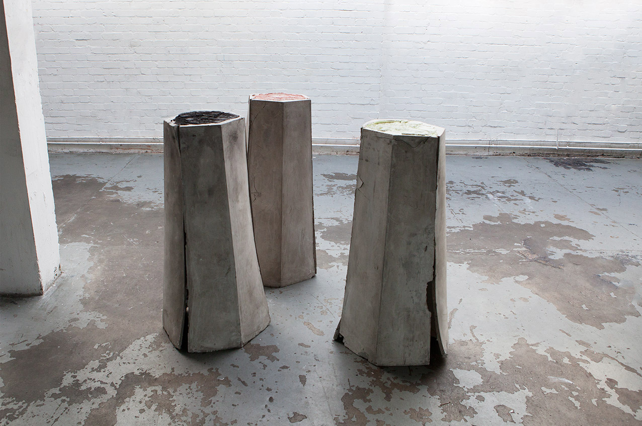 Andrea Zucchini, Three Stages, 2012. Plaster, aluminous cement, sulphur, iron (II) oxide, copper.