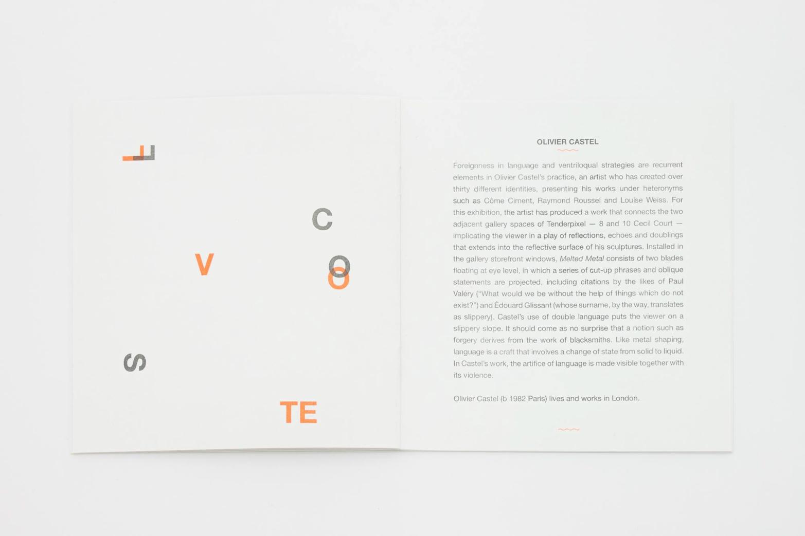 Exhibition guide designed by Rowena Harris. Tenderpixel.