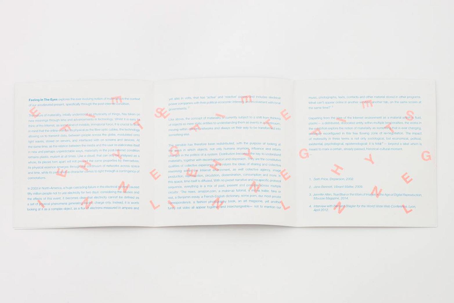 Exhibition handout. Design by Rowena Harris for Tenderpixel.