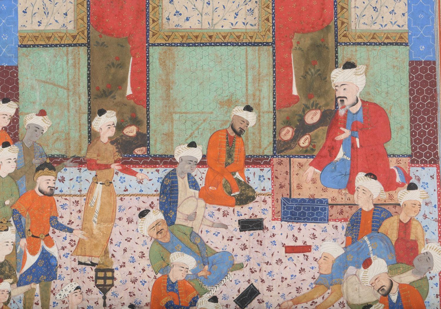 Persian Miniature Gouache on Paper Interior Scene 18th Century