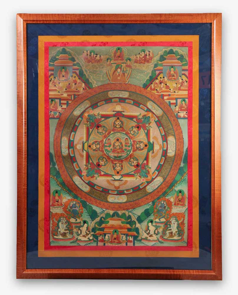 Tibetan Mandorla Thangka 20th Century Asian Art