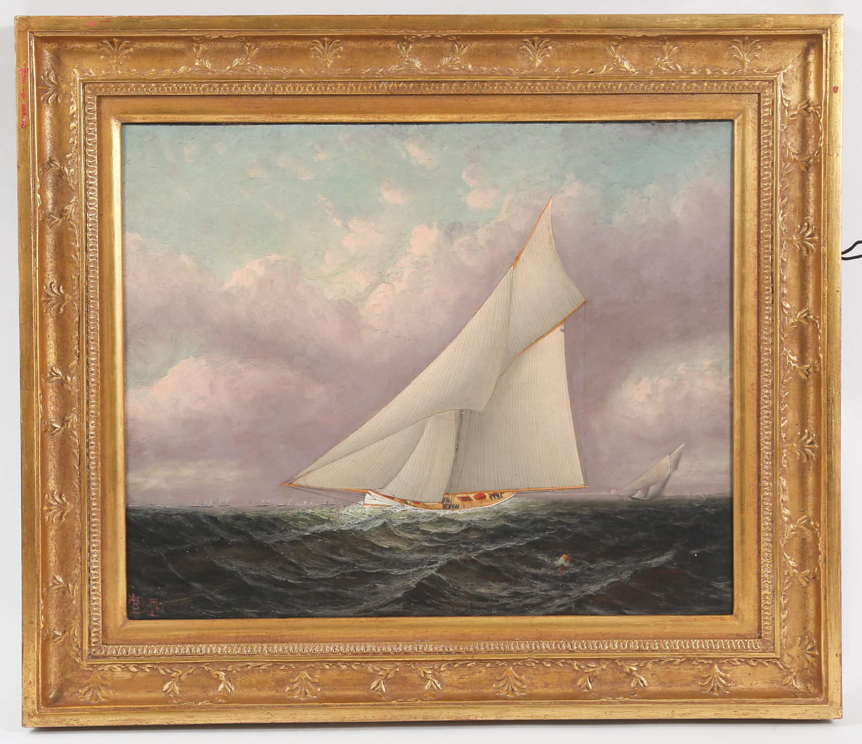 Elisha Taylor Baker American, 1827-1890 K-Boats Racing Oil on Canvas