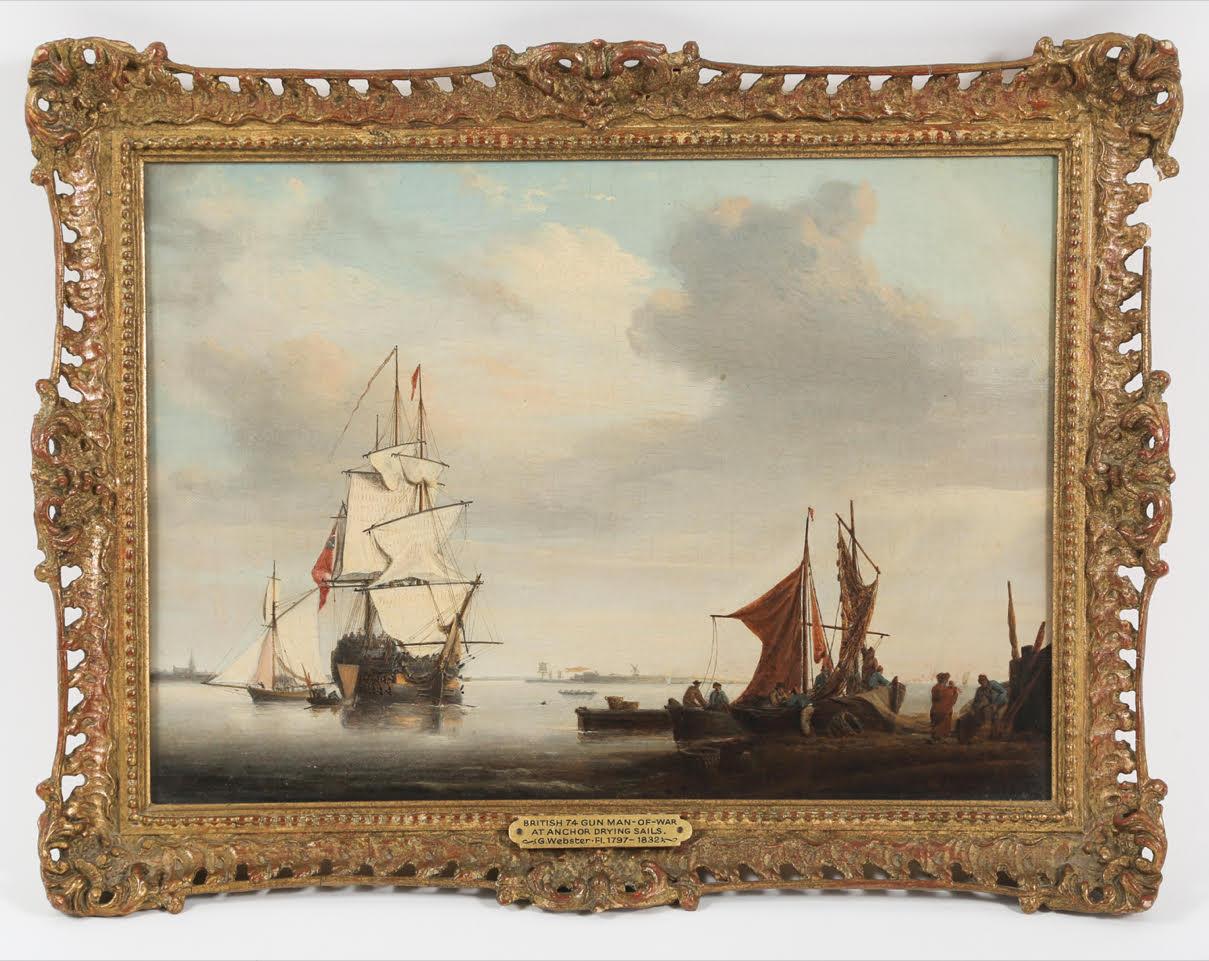George Webster British 1797-1864 British Man of War, Oil on Canvas