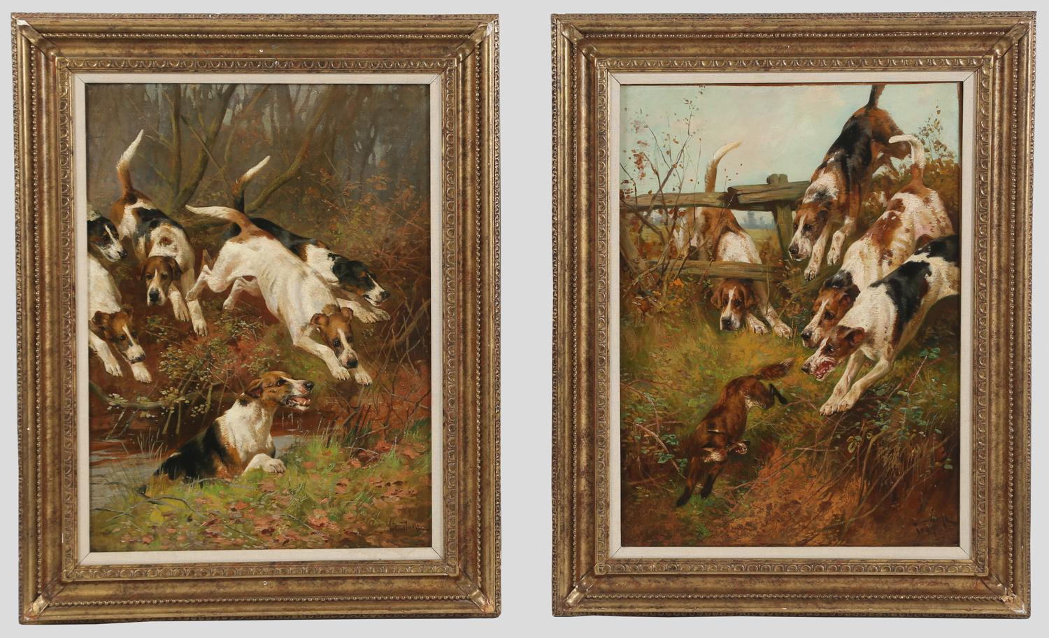 Arthur Wardle, Two Paintings Over the Water and Over the Fence Oil on Canvas 1887