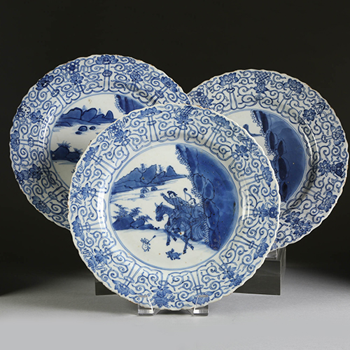 Three Chinese Export Porcelain Dishes, Kangxi Period Qing Dynasty