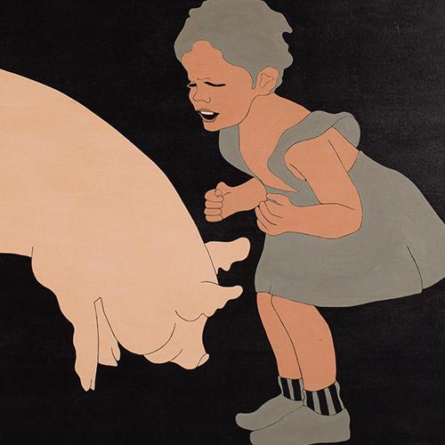 ohn Wesley (New York/California, b. 1928), Floating Pig, Acrylic on Canvas