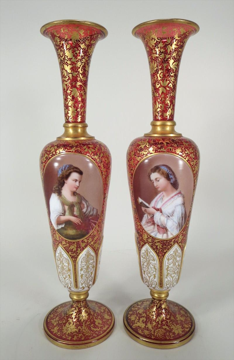Pair of Cranberry Glass Portrait Vases Continental 19th/20th century Victorian with portraits of young women, one reading a book New York Auction House, Houston Auction, Dallas Auction, San Antonio,