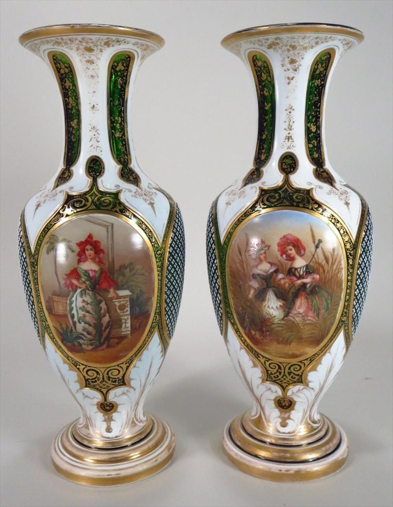 Pair of Cased Cut Glass Vases French 19th century hand painted panels,New York Auction House, Houston Auction, Dallas Auction, San Antonio,