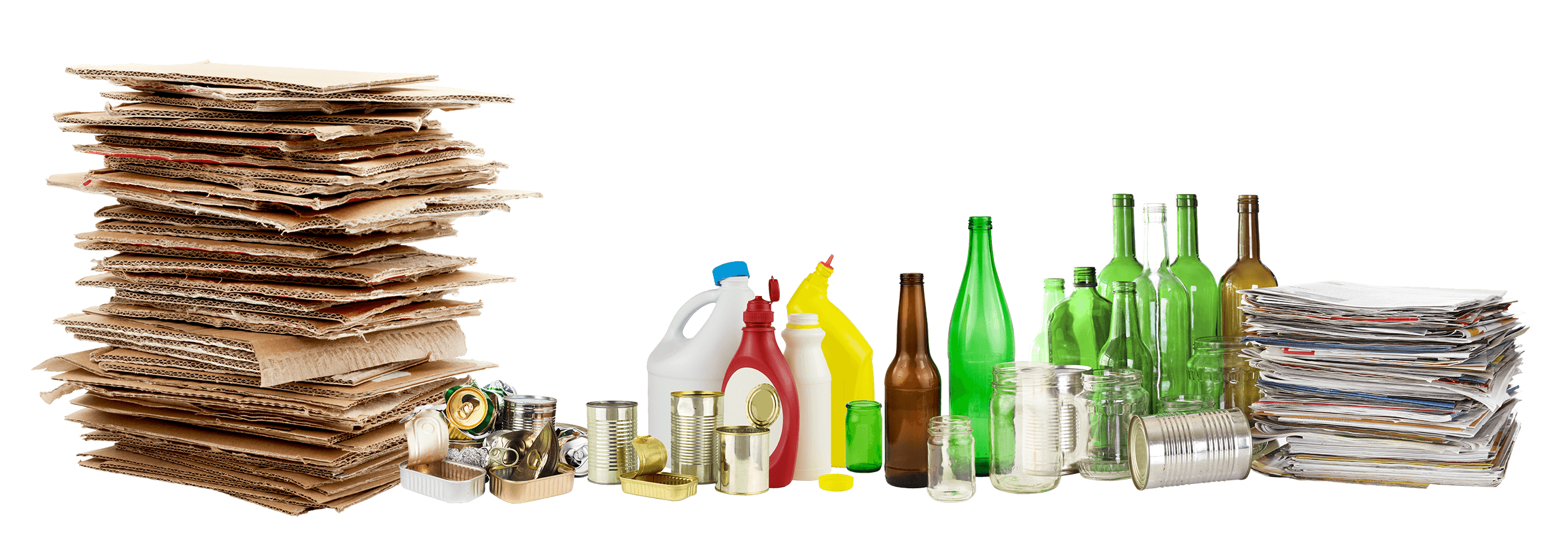 Cardboard, Metal, Plastic, Glass Recycling