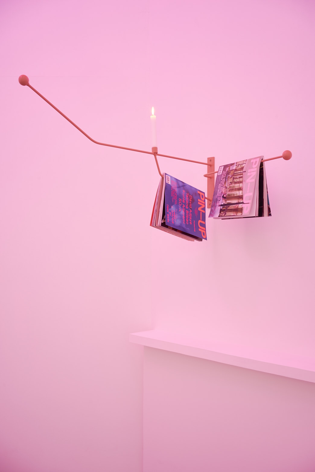 Richard Healy, PIN-UP, 2016. Powder-coated steel with magazines, wax candle. Tenderpixel.