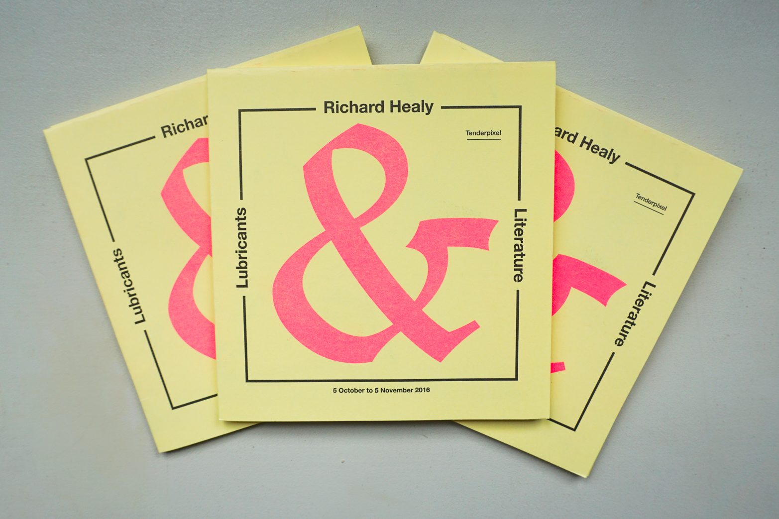 Lubricants & Literature, handout printed by Hato Press, Designed by Rowena Harris and Richard Healy. Tenderpixel.