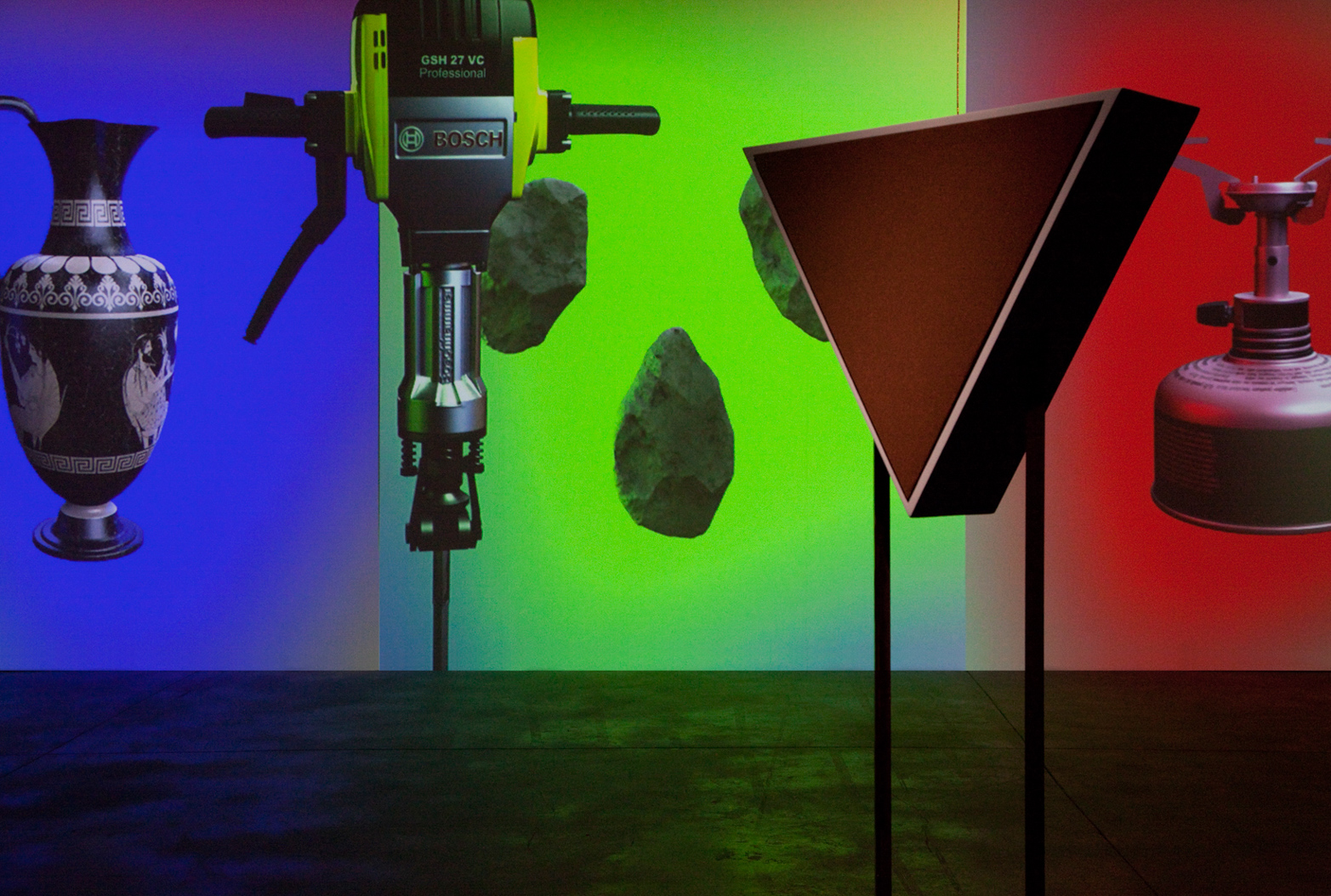 David Ferrando Giraut, SPEECH PROSTHESIS (An Alchemical Conversation), 2014. Digital animation with quadraphonic sound and custom quadraphonic speakers.
